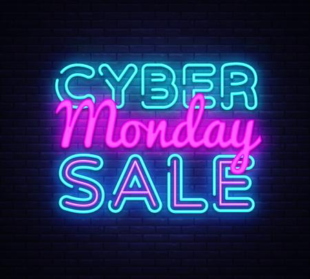 Cyber Monday Vector, ilustración de concepto de venta de descuento en estilo neón, concepto de marketing y compras en línea, ilustración. Letrero luminoso de neón, banner brillante, anuncio luminoso. Ilustración de vector