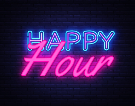 Happy Hour Neon Text Vector. Happy Hour neon sign, design template, modern trend design, night neon signboard, night bright advertising, light banner, light art. Vector illustration