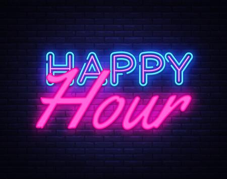 Happy Hour Neon Text Vektor. Happy Hour Leuchtreklame, Designvorlage, modernes Trenddesign, Nachtneonschild, Nachthelle Werbung, Lichtbanner, Lichtkunst. Vektorillustration