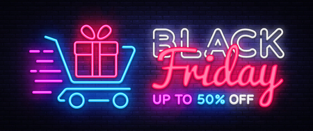 Black Friday Sale neon text vector design template. Black Friday Sale neon logo, light banner design element colorful modern design trend, night bright advertising, bright sign. Vector illustration Stock fotó
