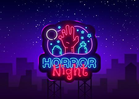 Horror Night neon sign vector. Halloween Poster Design template neon sign, Horror light banner, neon signboard, nightly bright advertising, light inscription. Vector Illustration. Billboard.