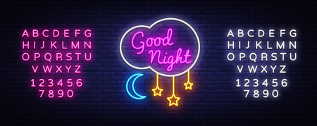 Good Night Neon Sign Vector. Good Night neon text, design template, modern trend design, night neon signboard, night light advertising, light banner, light art. Vector. Editing text neon sign. Vettoriali