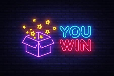 Je wint neon teken vector. U wint Ontwerpsjabloon neon teken, felicitatie, feest licht banner, neon uithangbord, nachtelijke heldere reclame, lichte inscriptie. Vector illustratie.