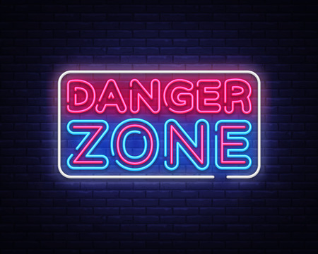 Danger Zone neon signs vector design template. Danger Zone neon symbol, light banner design element colorful modern design trend, night bright advertising, bright sign. Vector illustration.