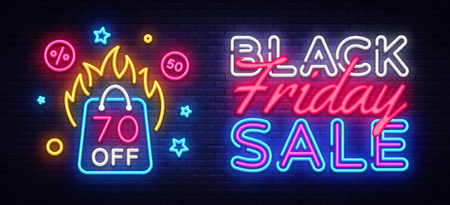Black Friday Sale Neon Banner Vector. Black Friday neon sign, design template, modern trend design, night neon signboard, night bright advertising, light banner, light art. Vector illustration. Illustration