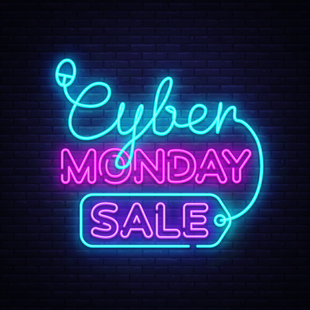 Cyber Monday, discount sale concept Vector illustration in neon style, online shopping and marketing concept. Neon luminous signboard, bright banner, Light advertisement.