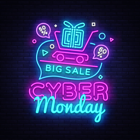 Cyber Monday Sale neon sign vector. Cyber Monday Bid discount Design template neon sign, light banner, neon signboard, nightly bright advertising, light inscription. Vector illustration