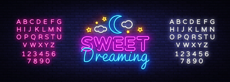Sweet Dreaming Neon Sign Vector. Sweet Dreaming neon text, design template, modern trend design, night neon signboard, night light advertising, light banner, light art. Vector. Editing text neon sign.