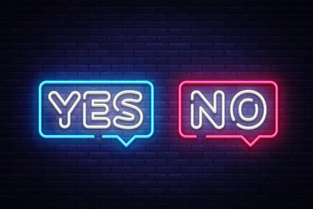Sì No testo al neon vettore. Sì No insegna al neon, modello di design, design di tendenza moderno, insegna al neon notturna, pubblicità luminosa notturna, striscione luminoso, arte luminosa. Illustrazione vettoriale.
