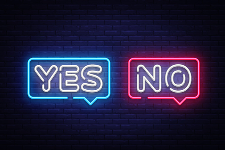 Yes No Neon Text Vector. Yes No neon sign, design template, modern trend design, night neon signboard, night bright advertising, light banner, light art. Vector illustration. 矢量图像