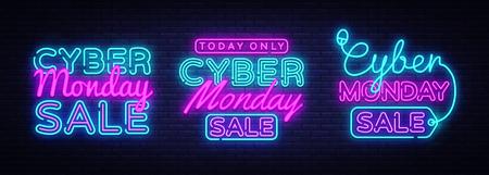 Grandi insegne al neon da collezione per il Cyber Monday. Vettore dell'insegna al neon. Insegna al neon Cyber Monday, modello di design, design di tendenza moderno, insegna luminosa notturna, pubblicità notturna luminosa. Illustrazione vettoriale.