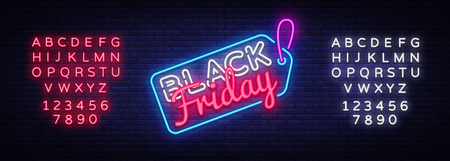 Black Friday Sale neon sign vector. Black Friday Sale Design template neon sign, light banner, neon signboard, nightly bright advertising, light inscription. Vector. Editing text neon sign 스톡 콘텐츠 - 108543613