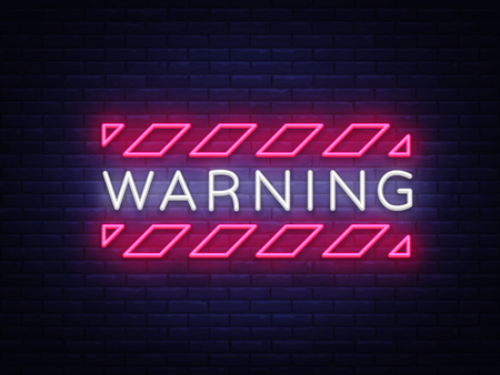 Warning Neon Text Vector. Danger Zone neon sign, design template, modern trend design, night neon signboard, night bright advertising, light banner, light art. Vector illustration.
