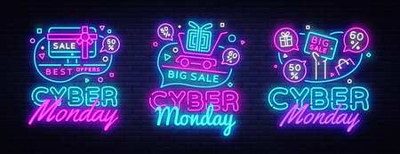 Big set Cyber Monday, Vector illustration discount sale concept in neon style, online shopping and marketing concept. Neon Light signboard, bright banner, illuminated advertisement. Vectores