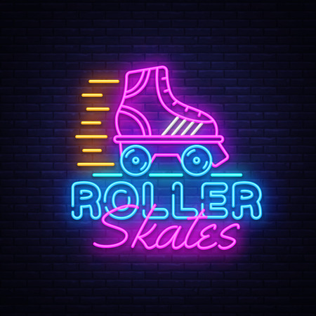 Roller Skates Neon Sign Vector. Retro quad roller skates neon logo, design template, modern trend design, night neon signboard, night bright advertising, light banner, light art. Vector illustration. Иллюстрация