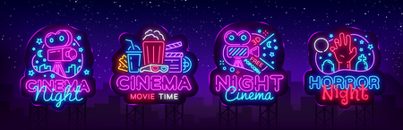 Cinema night set neon sing, label and logo. Cinema banner Design template, logo, emblem and label. Bright signboard, nightly bright advertising. Movie logo. Vector illustration. Billboard. Stock Illustratie