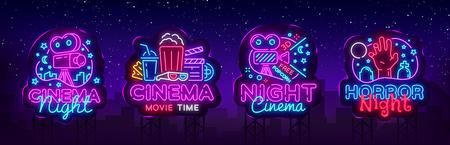 Cinema Night Set Neon singen, Label und Logo. Kinobanner Designvorlage, Logo, Emblem und Etikett. Helles Schild, nächtliche helle Werbung. Filmlogo. Vektorillustration. Plakatwand.