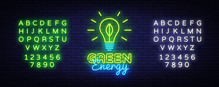 Green Energy neon sign vector. Eco Energy Design template neon sign, Ecology light banner, neon signboard, nightly bright advertising, light inscription. Vector illustration. Editing text neon sign 스톡 콘텐츠 - 108543729