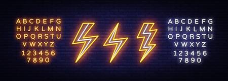 Błyskawica ustawić neony. Szablon projektu wektor. Symbol neonu wysokiego napięcia, lekki element projektu banera kolorowy trend w nowoczesnym designie, jasny znak. Wektor. Edycja tekstu neonu