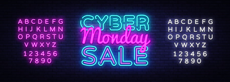 Cyber Monday Vector, discount sale concept illustration in neon style, online shopping and marketing concept. Neon luminous signboard, bright banner, luminous advertisement. Editing text neon sign. 일러스트