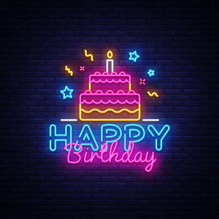 Happy Birthday Neon Text Vector. Happy Birthday neon sign, design template, modern trend design, night neon signboard, night bright advertising, light banner, light art. Vector illustration.  イラスト・ベクター素材