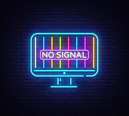 No Signal TV neon sign vector. Error no signal Design template neon sign, light banner, neon signboard, nightly bright advertising, light inscription. Vector illustration. 스톡 콘텐츠 - 108333149