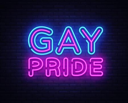 Gay Pride neon sign vector. LGBT Design template neon sign, light banner, neon signboard, nightly bright advertising, light inscription. Vector illustration