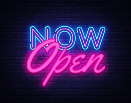 Öffnen Sie jetzt die Neon-Textvektor-Entwurfsvorlage. Jetzt offenes Neon-Logo, Lichtbanner-Gestaltungselement bunter moderner Designtrend, nächtliche helle Werbung, helles Zeichen. Vektorillustration.