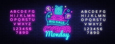 Cyber Monday Sale neon sign vector. Cyber Monday Bid discount Design template neon sign, light banner, neon signboard, nightly bright advertising, light inscription. Vector. Editing text neon sign. Banque d'images - 109850863