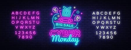 Vettore dell'insegna al neon di vendita di Cyber Monday. Insegna al neon del modello di progettazione di sconto dell'offerta di Cyber Monday, insegna luminosa, insegna al neon, pubblicità luminosa notturna, iscrizione chiara. Vettore. Modifica del testo al neon.