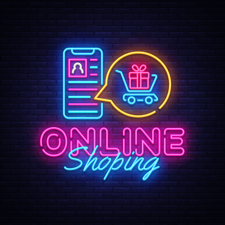 Online Shoping neon banner vector design template. Mobile paymentsneon logo, light banner design element colorful modern design trend, night bright advertising, bright sign. Vector illustration.