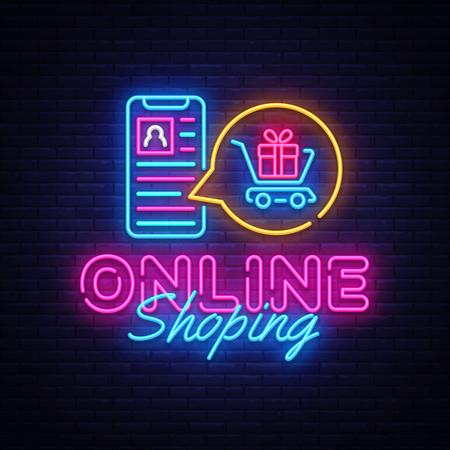 Plantilla de diseño de vector de banner de neón de compras en línea. Pagos móviles logotipo de neón, elemento de diseño de banner ligero colorido tendencia de diseño moderno, publicidad luminosa nocturna, letrero luminoso. Ilustración de vector.