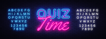 Quiz Time neon sign vector. Quiz Pub Design template neon sign, light banner, neon signboard, nightly bright advertising, light inscription. Vector illustration. Editing text neon sign.