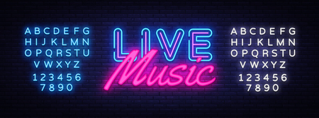 Live Music neon sign vector. Live Music Design template neon sign, light banner, neon signboard, nightly bright advertising, light inscription. Vector illustration. Editing text neon sign.