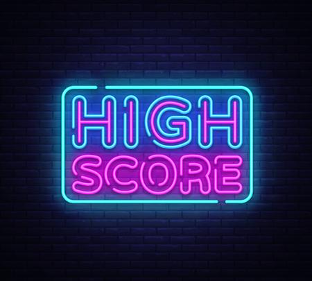 High Score Neon Text Vector. High Score neon sign, design template, modern trend design, night neon signboard, night bright advertising, light banner, light art. Vector illustration.