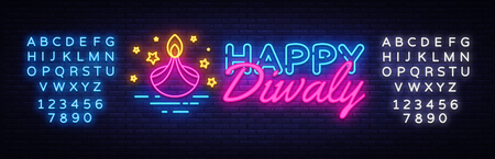 Diwali Hindu festival greeting card neon Vector. Diwali neon sign, design template, modern trend design, night neon signboard, night bright advertising, light banner. Vector. Editing text neon sign.