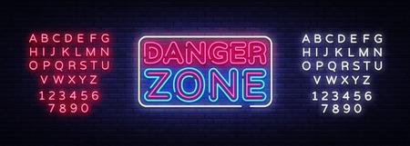 Plantilla de diseño de vector de letreros de neón de zona de peligro. Símbolo de neón de la zona de peligro, elemento de diseño de banner de luz colorida tendencia de diseño moderno, publicidad luminosa nocturna. Vector. Edición de letrero de neón de texto. Ilustración de vector