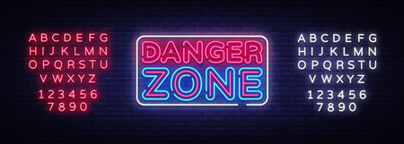 Danger Zone neon signs vector design template. Danger Zone neon symbol, light banner design element colorful modern design trend, night bright advertising. Vector. Editing text neon sign.