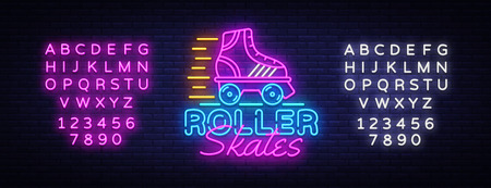 Roller Skates Neon Sign Vector. Retro quad roller skates neon logo, design template, modern trend design, night neon signboard, night bright advertising, light banner. Vector. Editing text neon sign.