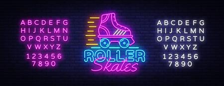 Vecteur de signe au néon de patins à roulettes. Logo néon de patins à roulettes quad rétro, modèle de conception, conception de tendance moderne, enseigne au néon de nuit, publicité lumineuse de nuit, bannière lumineuse. Vecteur. Modification de l'enseigne au néon de texte. Logo