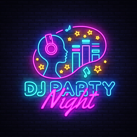 DJ Party Neon sign vector. Night Party Design template neon sign, Dj Sound Advertising light banner, neon signboard, nightly bright advertising, light inscription. Vector illustration.