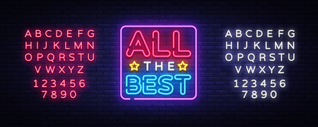All the best Neon Text Vector. All the best neon sign, design template, modern trend design, night neon signboard, night bright advertising, light banner, light art. Vector. Editing text neon sign. Иллюстрация