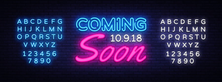 Coming Soon neon sign vector. Coming Soon Design template neon sign, light banner, neon signboard, nightly bright advertising, light inscription. Vector illustration. Editing text neon sign.