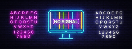 No Signal TV neon sign vector. Error no signal Design template neon sign, light banner, neon signboard, nightly bright advertising, light inscription. Vector illustration. Editing text neon sign. Illustration