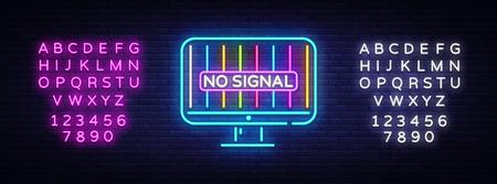No Signal TV neon sign vector. Error no signal Design template neon sign, light banner, neon signboard, nightly bright advertising, light inscription. Vector illustration. Editing text neon sign. Ilustração