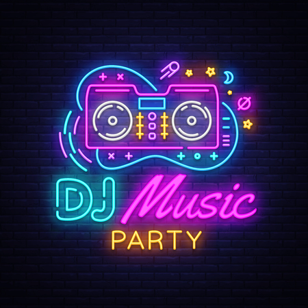 DJ Music Neon sign vector. Night Party Design template neon sign, Dj Sound Advertising light banner, neon signboard, nightly bright advertising, light inscription. Vector illustration. Çizim