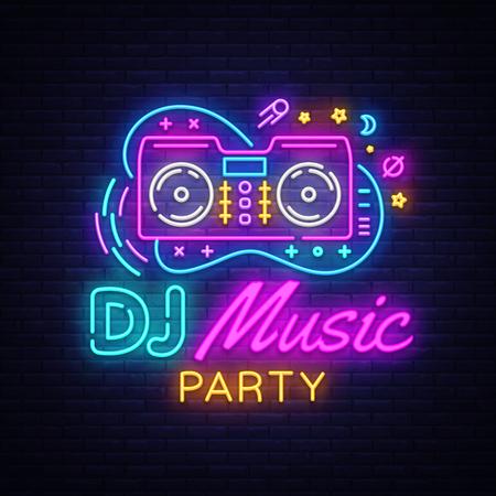 DJ Music Neon sign vector. Night Party Design template neon sign, Dj Sound Advertising light banner, neon signboard, nightly bright advertising, light inscription. Vector illustration. Illustration