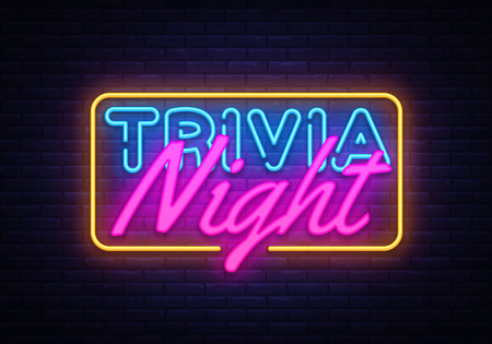 Trivia Night neon sign vector. Quiz Time Design template neon sign, light banner, neon signboard, nightly bright advertising, light inscription. Vector illustration.
