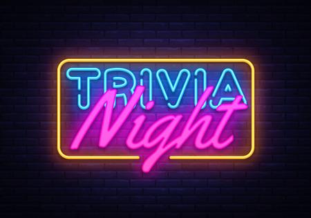 Vecteur d'enseigne au néon Trivia Night. Enseigne au néon de modèle de conception de temps de quiz, bannière lumineuse, enseigne au néon, publicité lumineuse nocturne, inscription légère. Illustration vectorielle.