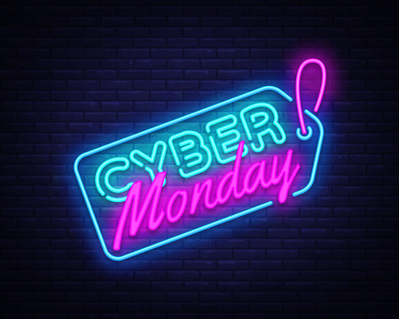Cyber Monday Sale neon sign vector. Cyber Monday Bid discount Design template neon sign, light banner, neon signboard, nightly bright advertising, light inscription. Vector illustration.